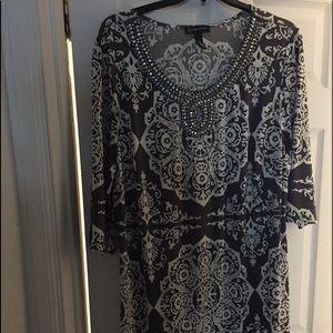 New INC Women's Black and White Print Sheath Dress
